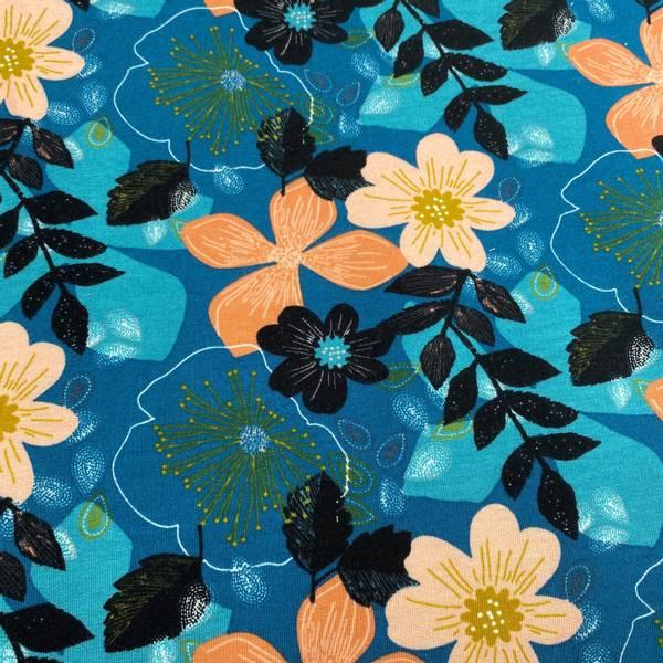 Isoli med Floral Blomster Petrol blå