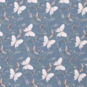 Bilde av Bomulljersey digital sommerfugler Indigo
