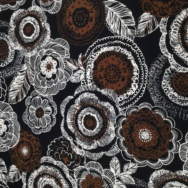 Canvas Japansk Bomullstoff med svart og brun blomster