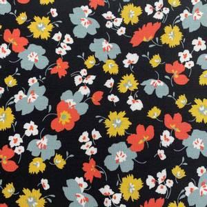 Bilde av Tencel Modal Jersey blomster svart