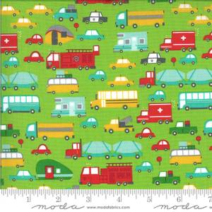 Bilde av Moda Fabrics On The Go Grass biler stoff