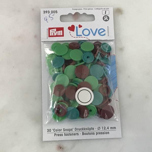 Prym Love – Trykknapper Snaps grønn og brun Plast 12,4 mm