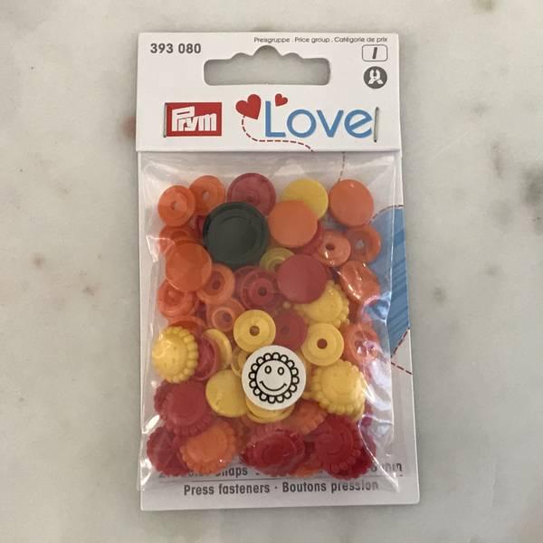 Prym Love – Trykknapper Snaps gul rød oransje med blomster Plast