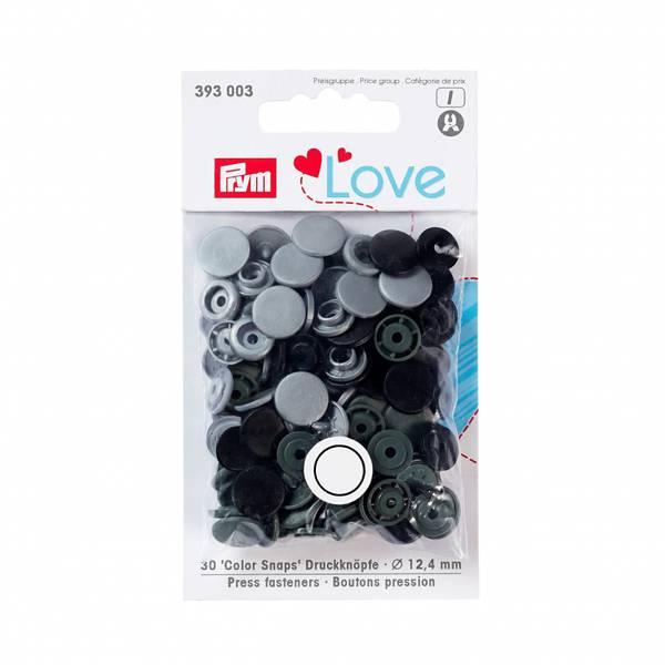Prym Love – Trykknapper Snaps mint og  tukis Plast 12,4mm GRÅ