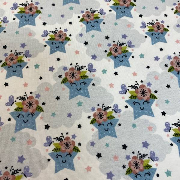 Bomullsjersey søt stjerner hvit