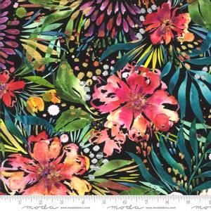 Bilde av 50cm bit Bomullstoff Moody Bloom Digital Svart
