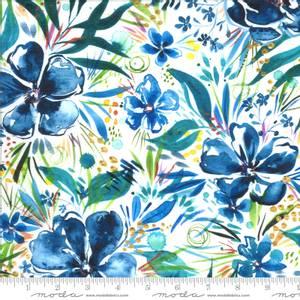 Bilde av Bomullstoff Moody Bloom Digital Indigo