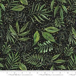Bilde av Bomullstoff Moody Bloom Digital Leaves Black