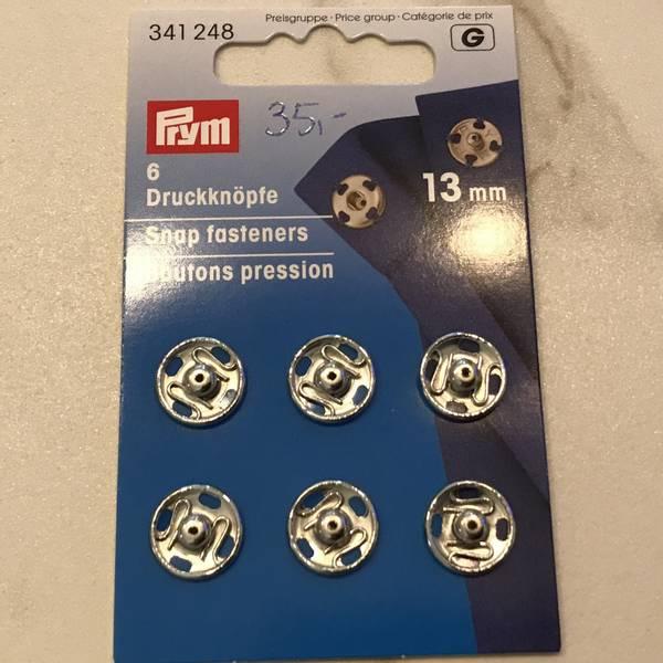 Trykknapper metall sølv 13 mm 6stk