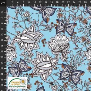 Bilde av Bomulljersey sommerfugler og blomster