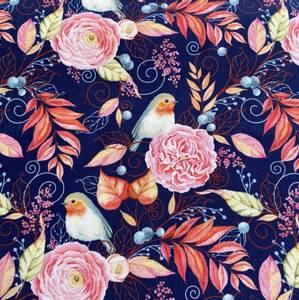 Bilde av French Terry med blomster og fugler
