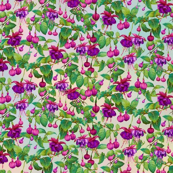 Bomull stoff Pastel Fuchsia Flowers