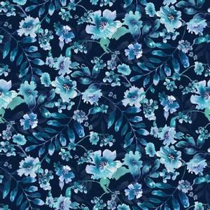 Bilde av Bomull stoff Navy Watercolor blomster