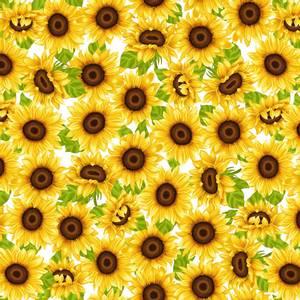 Bilde av Bomull stoff Sunflowers hvit og gul