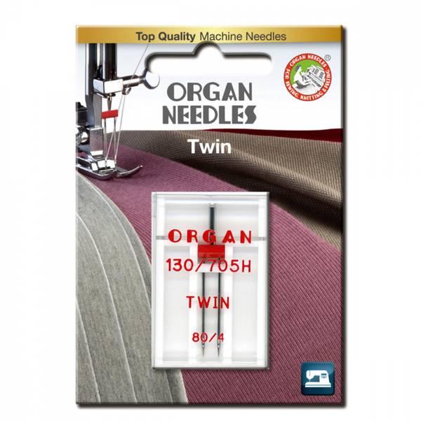 Organ Tvillingenål 4mm  #80, 1 stk