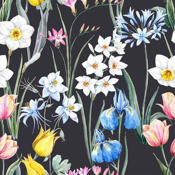 Viskose jersey Blomster svart