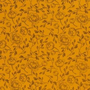 Bilde av Musselin - Double Gauze ochre gul med blomstser