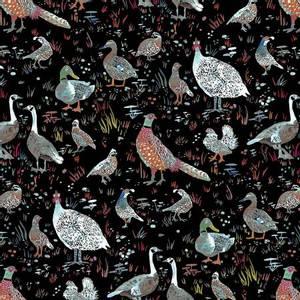 Bilde av bomullstoff White Bird Season fugler svart