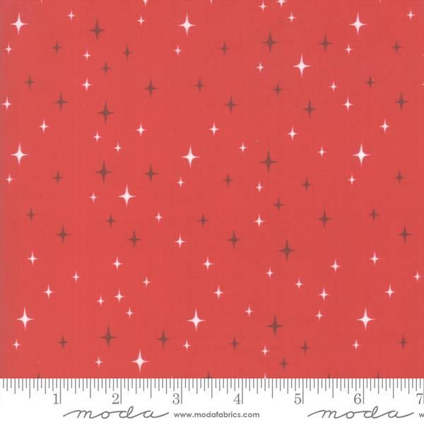 Bomullstoff Northern Light Cinnamon stjerner rød