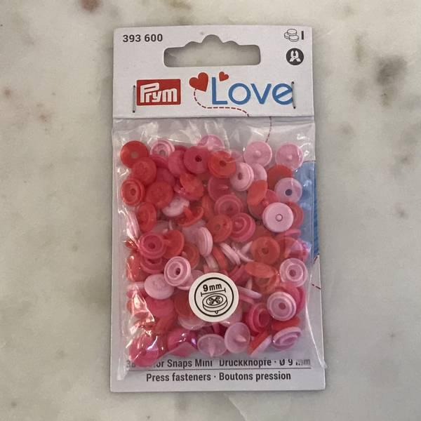 Prym Love – Trykknapper Snaps 9mm mini flere rosa farger