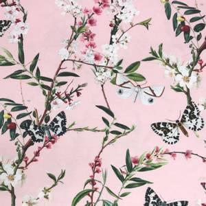 Bilde av Bomull Jersey Sommerfugler og bloster rosa