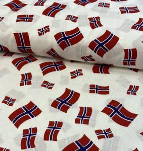 Bilde av Bomull stoff med Norsk flagg