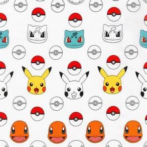 Bilde av Bomull stoff med Pokemon hvit