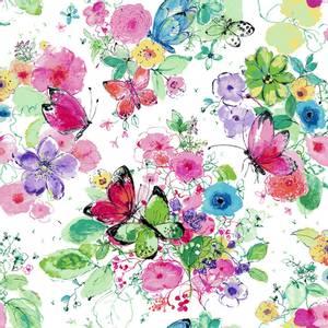 Bilde av Bomull stoff Blomster og sommerfugler