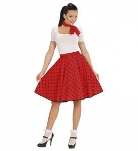 Bilde av 50s Rødt Polka Dot Skjørt & Skjerf