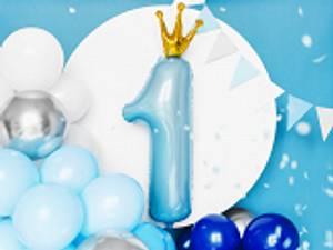 Bilde av Folieballong 1 Himmelblå med krone 90x50 cm