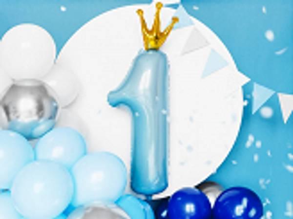 Folieballong 1 Himmelblå med krone 90x50 cm