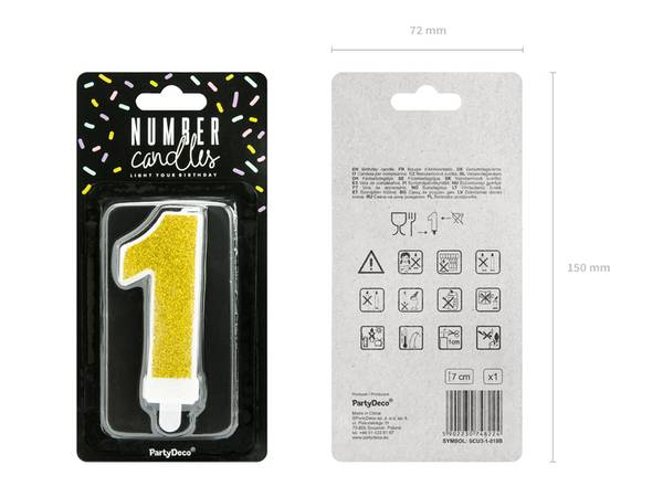 Birthday candle Number 1, gold, 7cm