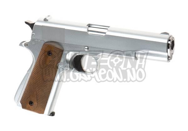 Bilde av HFC - M1911 Gassdrevet Softgun Pistol uten Blowback - Sølv