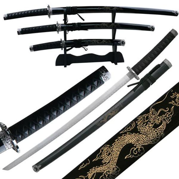 Bilde av 3stk Samuraisverd - Black Dragon - med Stativ