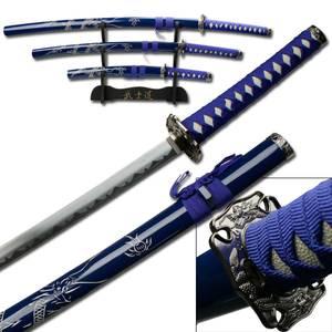 Bilde av 3stk Samuraisverd - Dark Repulser - med Stativ