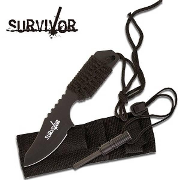 Bilde av Survivor Outdoor Kniv med Firestarter - Sort