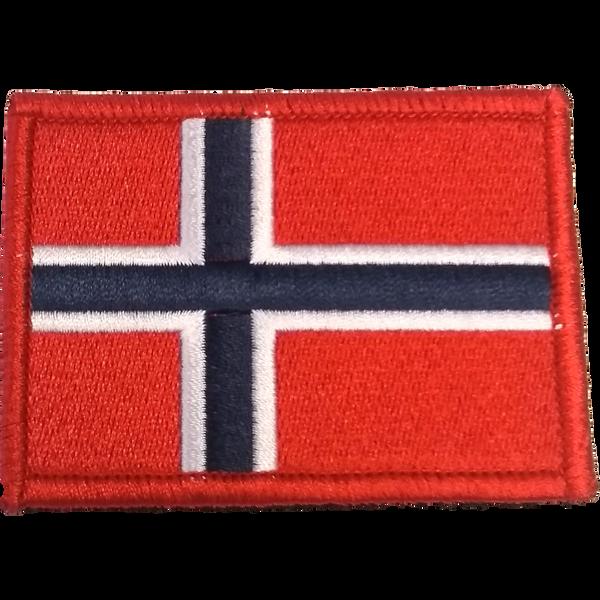 Bilde av Patch - Brodert Norsk flagg med rød kant