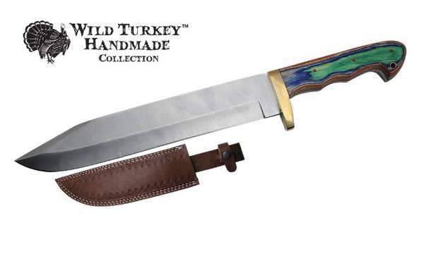Bilde av WT - Håndlaget Western Style Bowie kniv med Lærslire