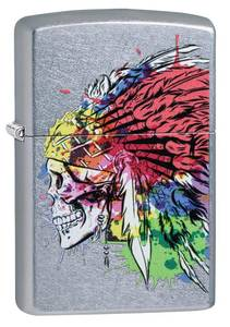 Bilde av Zippo - Skull with Headdress Design