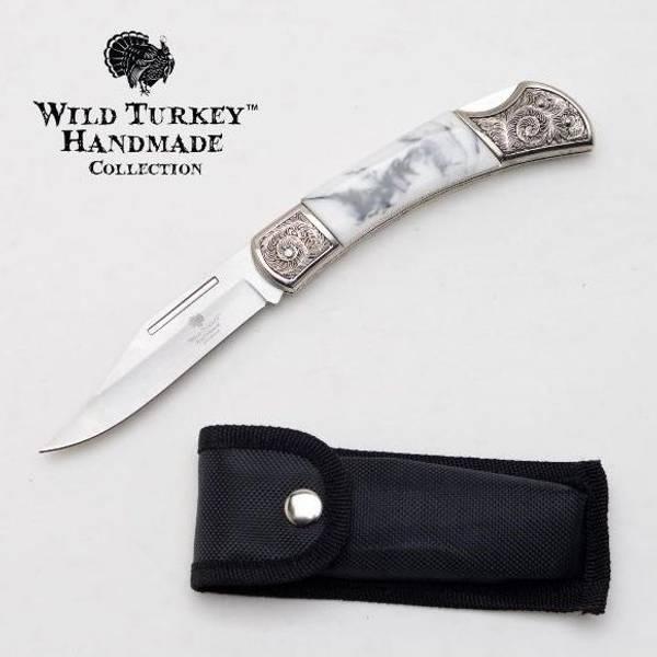 Bilde av  WT - Håndlaget Foldekniv med Graveringer - Hvit