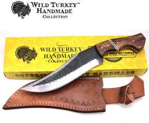 Bilde av Wild Turkey - Håndlaget Karbonstål Kniv - Svart/Brun/Rød