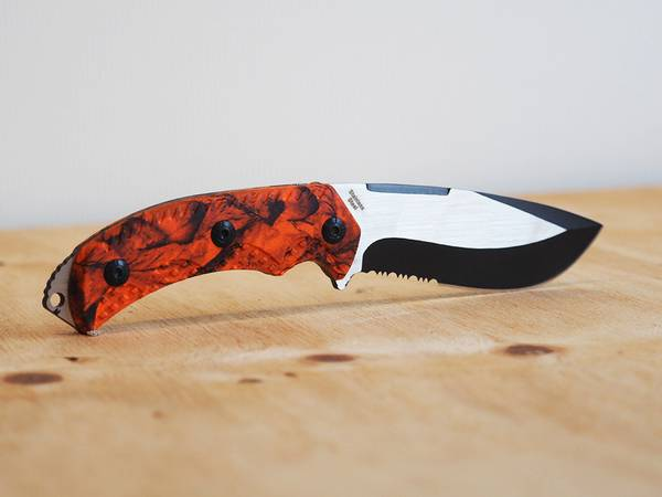 Bilde av Wild Turkey - Håndlaget Kniv med Firestarter og Slire - Orange C