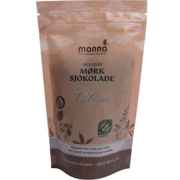 Bilde av Manna Mørk sjokoladedrops 72% 250 gram