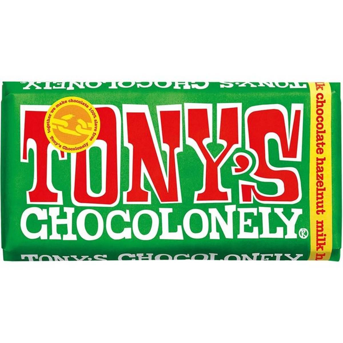 Tony's Chocolonely Hasselnøtt melkesjokolade 180 g