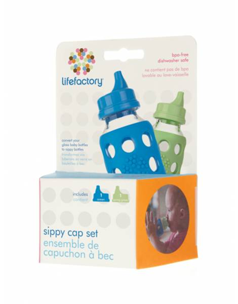 Bilde av Lifefactory Sippy Cap Ocean Blue & Spring Green 2 stk