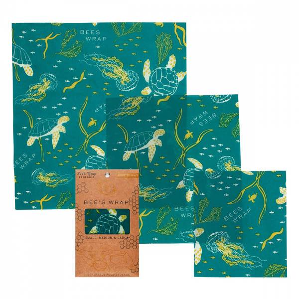 Bilde av Bees Wrap - Assorted 3 pack Ocean Print