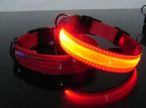 Bilde av Hundehalsbånd m/LED lys. Rød