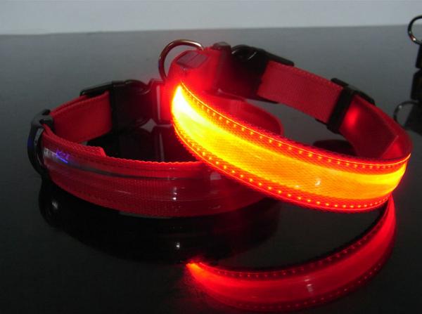 Hundehalsbånd m/LED lys. Rød