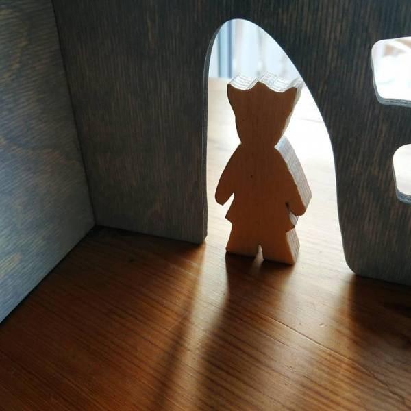 Stubbestue - dukkehus i bjørk