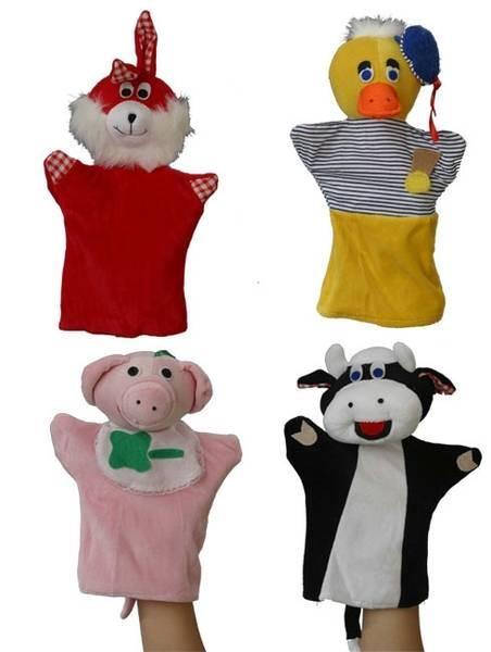 Hånddukker sett med dyr 28cm